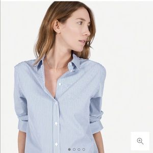 Everlane Pinstripe The Relaxed Poplin Button Shirt